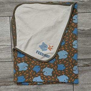Gymboree Reversible Piranha Print Baby Blanket